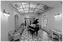 Piano and gallery in assembly room. Hot Springs National Park, Arkansas, USA. (black and white)