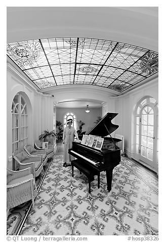 Music room with ceiling of art glass. Hot Springs National Park (black and white)