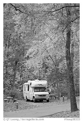 RV in campground with fall colors. Hot Springs National Park (black and white)
