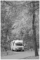 RV in campground with fall colors. Hot Springs National Park, Arkansas, USA. (black and white)