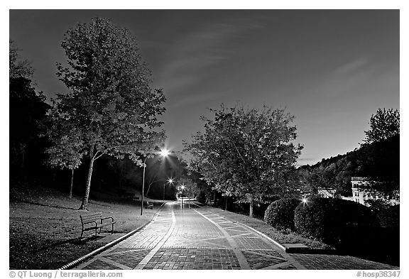 Grand Promenade at night. Hot Springs National Park (black and white)