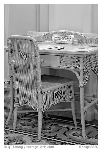 Desk in assembly room. Hot Springs National Park (black and white)