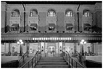 Fordyce Bathhouse facade at night. Hot Springs National Park, Arkansas, USA. (black and white)