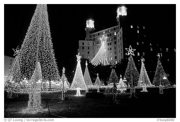 Black And White Picture Photo Christmas Illuminations In Front Of The Arlington Hotel Hot Springs Arkansas USA