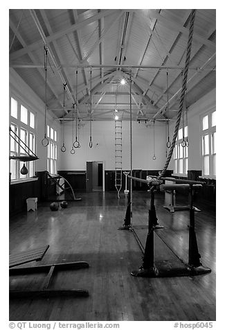 Gym inside Fordyce Bathhouse. Hot Springs National Park (black and white)