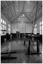 Gym inside Fordyce Bathhouse. Hot Springs National Park ( black and white)