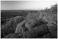 Eroded granite blocs on Mount Franklin at sunset. Isle Royale National Park, Michigan, USA. (black and white)