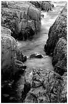 Rock gorge near Scoville point. Isle Royale National Park, Michigan, USA. (black and white)