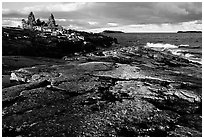 Rock slabs near Scoville point. Isle Royale National Park, Michigan, USA. (black and white)