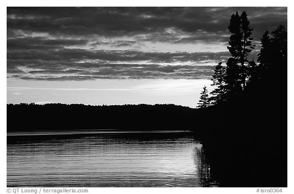 Lake Chippewa at sunset. Isle Royale National Park (black and white)