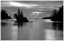 Sunrays and islet,  Chippewa harbor. Isle Royale National Park, Michigan, USA. (black and white)
