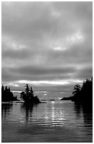 Early morning on Chippewa harbor. Isle Royale National Park, Michigan, USA. (black and white)