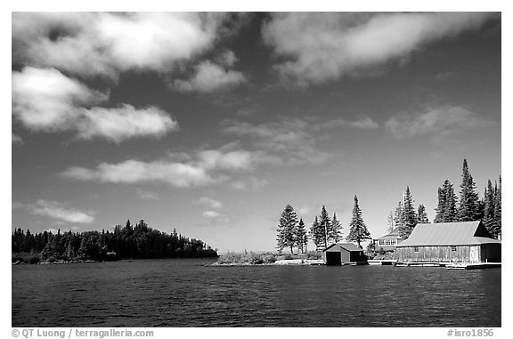 Private fishermen's residences. Isle Royale National Park, Michigan, USA.