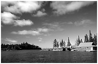 Private fishermen's residences. Isle Royale National Park ( black and white)