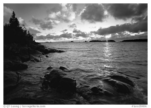 Rocks and cove at sunrise. Isle Royale National Park (black and white)
