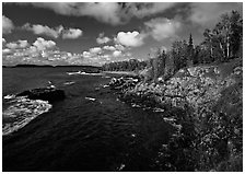 Rocky Lakeshore. Isle Royale National Park, Michigan, USA. (black and white)