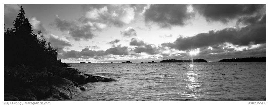 Lake Superior cloudy sunrise. Isle Royale National Park (black and white)