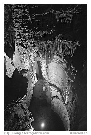 Crystal Lake seen from shaft above. Mammoth Cave National Park (black and white)