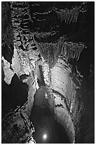 Crystal Lake seen from shaft above. Mammoth Cave National Park, Kentucky, USA. (black and white)