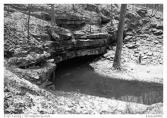 Styx resurgence in winter. Mammoth Cave National Park (black and white)