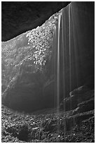 Ephemeral waterfall seen from inside cave. Mammoth Cave National Park, Kentucky, USA. (black and white)