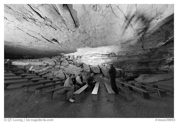 Talk in large room inside cave. Mammoth Cave National Park (black and white)
