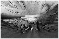 Talk in large room inside cave. Mammoth Cave National Park, Kentucky, USA. (black and white)