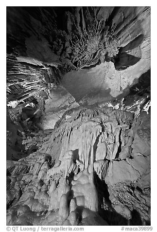 Looking up flowstone, Frozen Niagara. Mammoth Cave National Park (black and white)