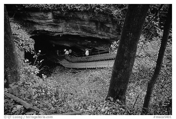 Historic entrance of the cave. Mammoth Cave National Park (black and white)