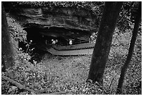 Historic entrance of the cave. Mammoth Cave National Park, Kentucky, USA. (black and white)