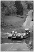 Green River ferry crossing. Mammoth Cave National Park, Kentucky, USA. (black and white)