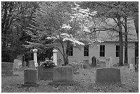 Mammoth Cave church and cemetery. Mammoth Cave National Park, Kentucky, USA. (black and white)