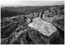 Rectangular rocks at dusk, Black Rock. Shenandoah National Park ( black and white)