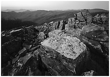 Rock slabs, Black Rock, dusk. Shenandoah National Park, Virginia, USA. (black and white)