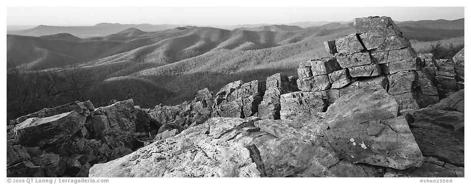 Appalachian landscape with rocks and hills. Shenandoah National Park (black and white)