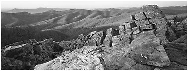 Appalachian landscape with rocks and hills. Shenandoah National Park (Panoramic black and white)