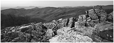 Rock slabs and forested hills at dusk. Shenandoah National Park (Panoramic black and white)