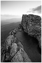 Rainwater pool, Little Stony Man, sunrise. Shenandoah National Park, Virginia, USA. (black and white)