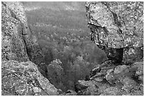 Forested slopes seen through a rock window, Little Stony Man. Shenandoah National Park ( black and white)