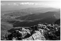 Panorama from Little Stony Man, early morning. Shenandoah National Park, Virginia, USA. (black and white)