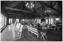 Interior hall of Shenandoah Lodge. Shenandoah National Park ( black and white)