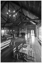Main guest  hall of Shenandoah Lodge. Shenandoah National Park ( black and white)