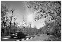 Car on Skyline drive. Shenandoah National Park ( black and white)
