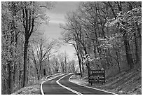 Skyline drive with Park entrance sign. Shenandoah National Park, Virginia, USA. (black and white)