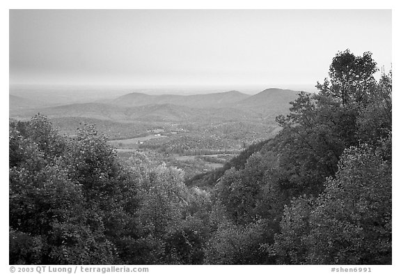 Looking west towards farmlands at sunset. Shenandoah National Park (black and white)