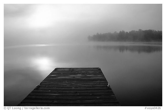 Dock and morning fog, Kabetogama lake near Woodenfrog. Voyageurs National Park (black and white)