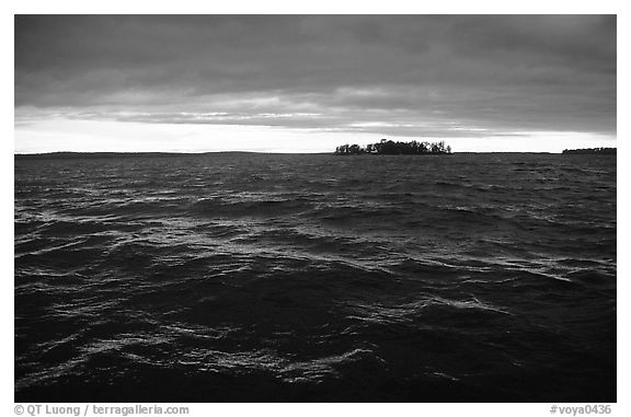 Choppy Kabetogama waters during a storm. Voyageurs National Park (black and white)