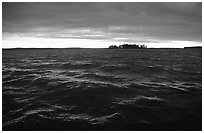 Choppy Kabetogama waters during a storm. Voyageurs National Park, Minnesota, USA. (black and white)