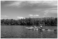 Modern Voyageurs in kayaks. Voyageurs National Park, Minnesota, USA. (black and white)
