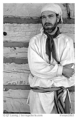 Park staff wearing white period outfit similar to that worn by  Voyageurs. Voyageurs National Park (black and white)